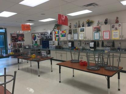 empty art classroom