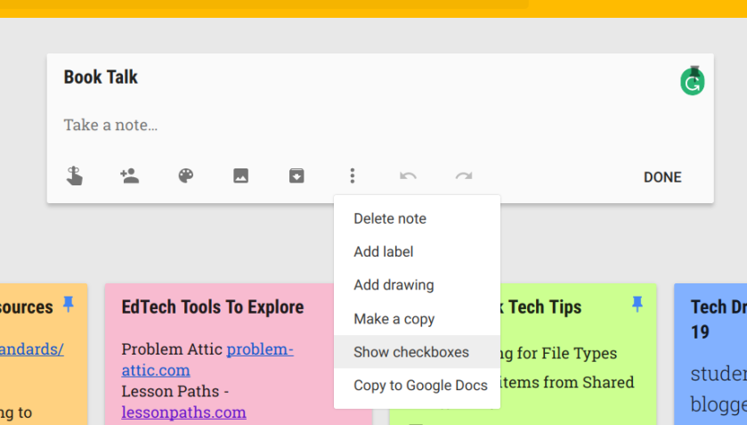 Google Keep note with checkboxes showing
