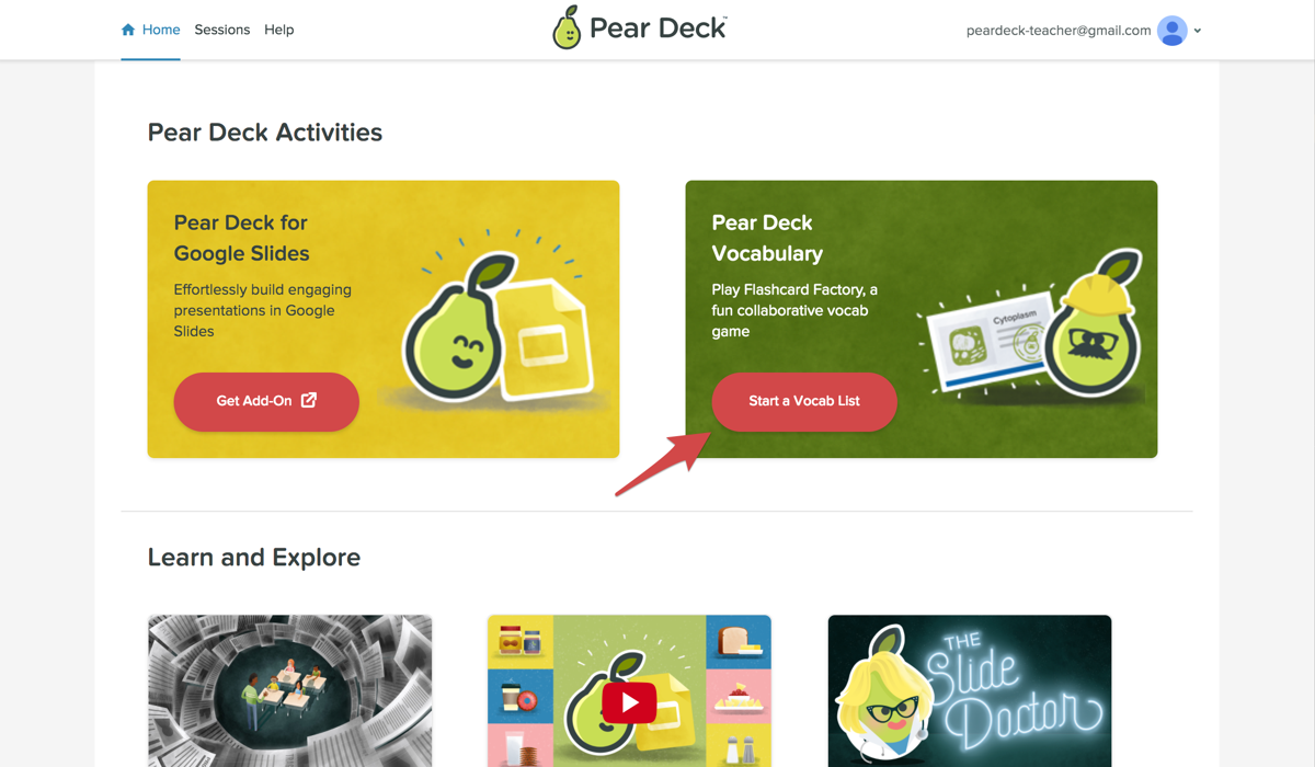 two rectangles - the one on the left is for Pear Deck. The one on the right is for Pear Deck Vocabulary