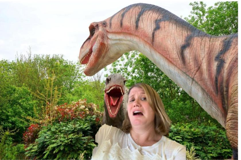 A dinosaur wants to eat me!