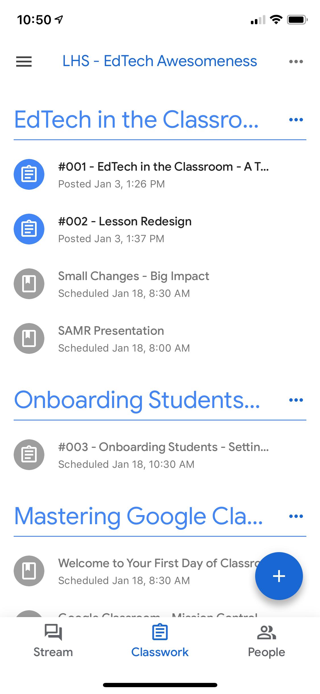 view of google classroom classwork