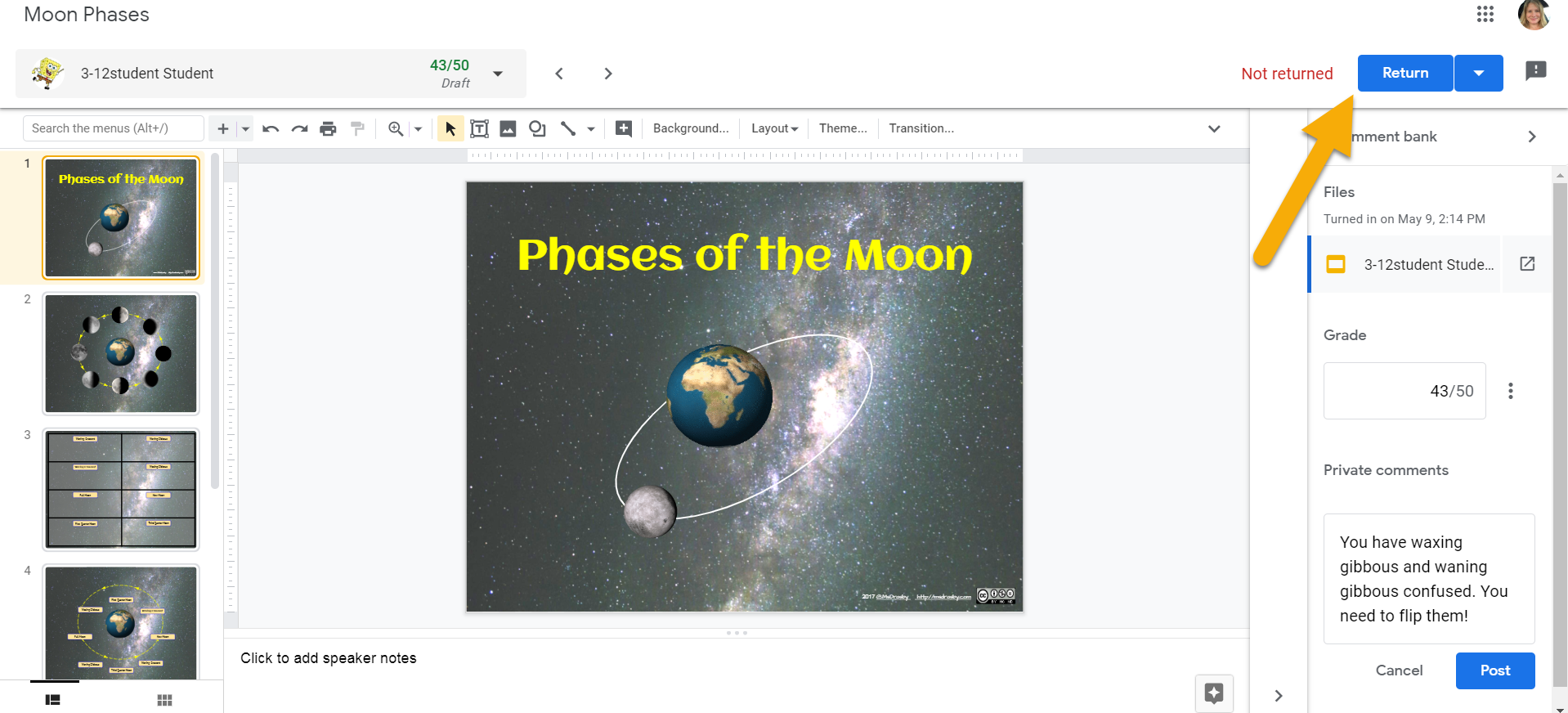Google slide view with a yellow arrow pointing at the return button in the upper right.