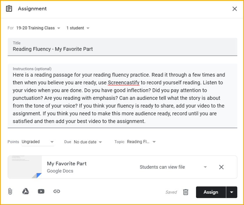 assignment dialog box in Google Classroom with directions to the assignment.